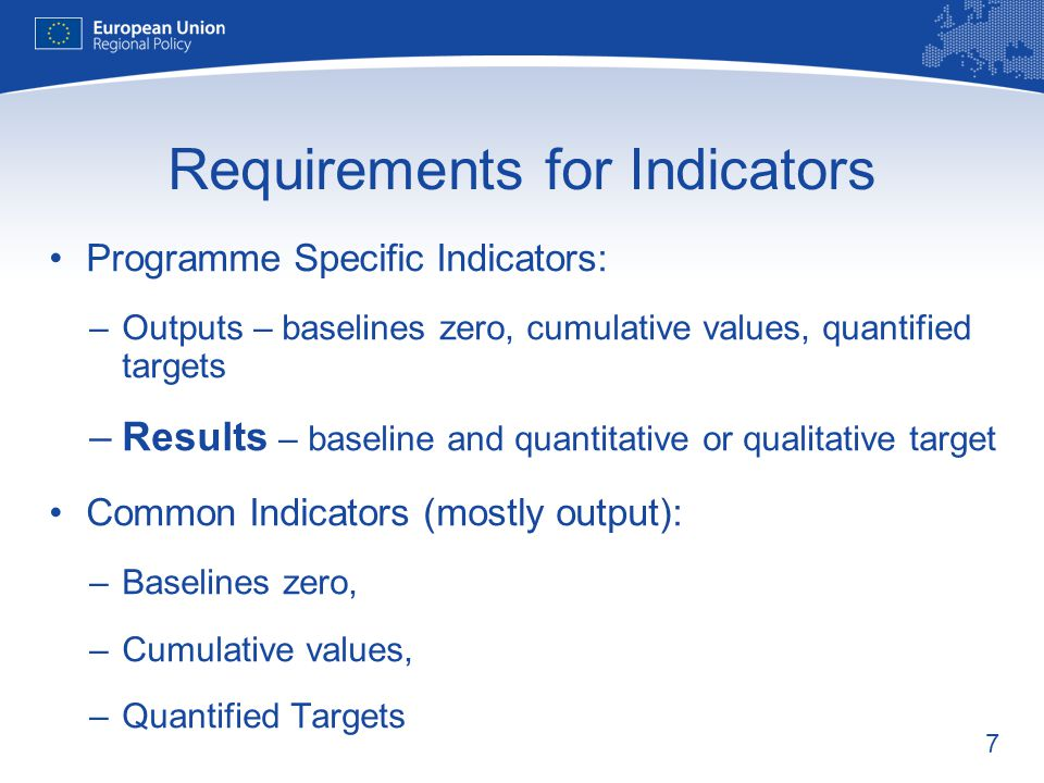 Requirements for Indicators