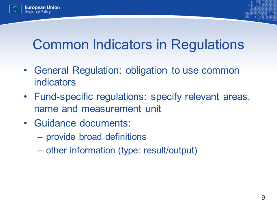 Common Indicators in Regulations