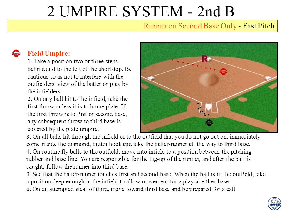 2 UMPIRE SYSTEM - 2nd B Runner on Second Base Only - Fast Pitch