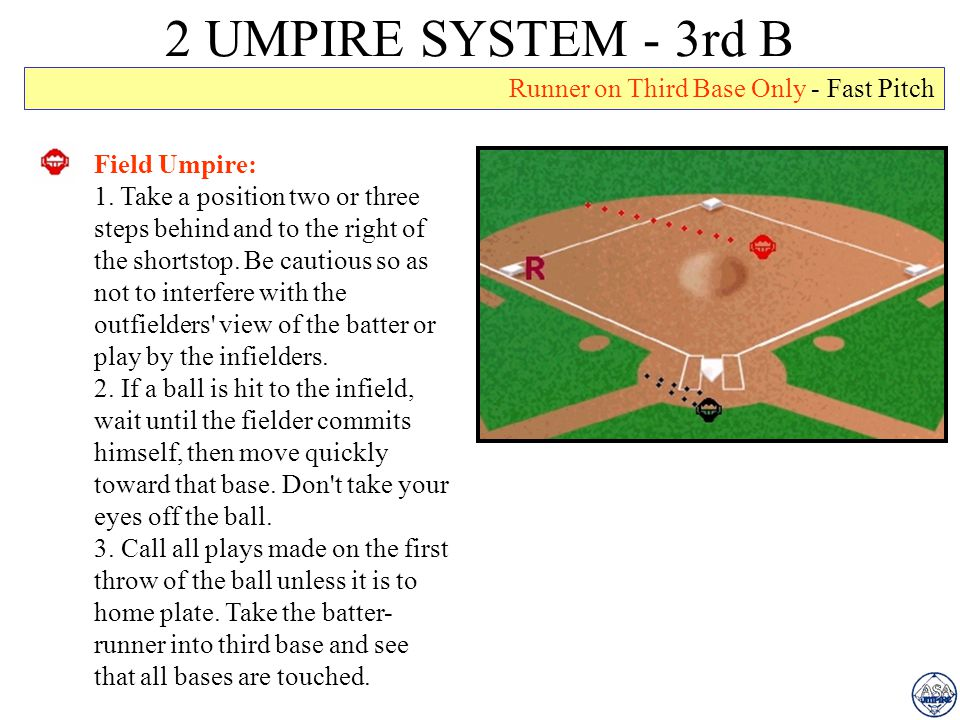 2 UMPIRE SYSTEM - 3rd B Runner on Third Base Only - Fast Pitch