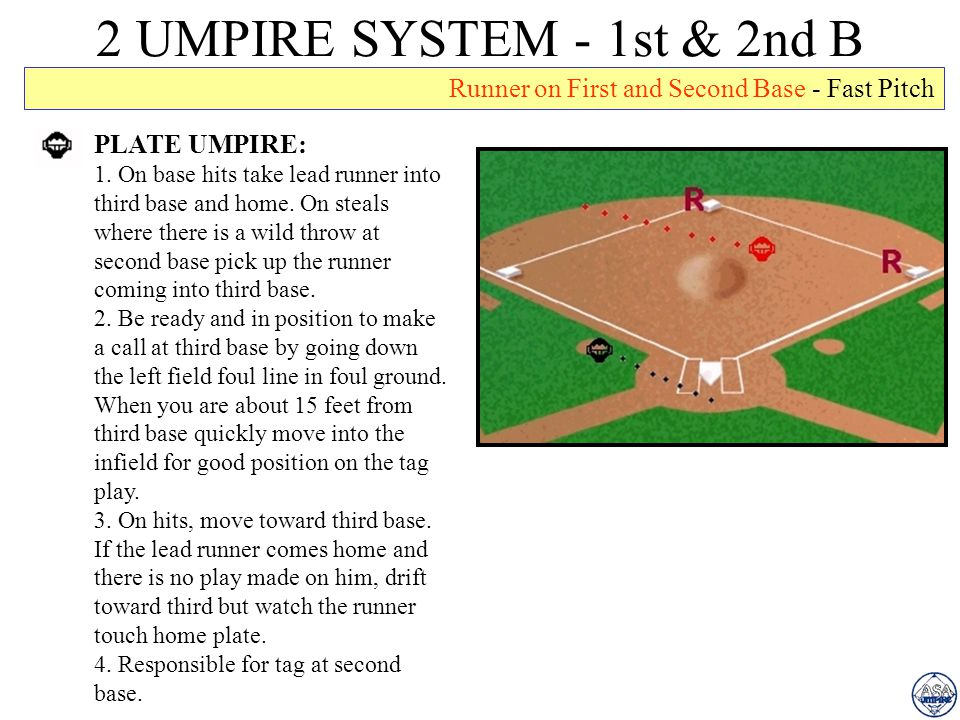 2 UMPIRE SYSTEM - 1st & 2nd B Runner on First and Second Base - Fast Pitch. PLATE UMPIRE: