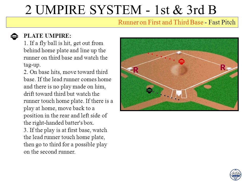 2 UMPIRE SYSTEM - 1st & 3rd B Runner on First and Third Base - Fast Pitch. PLATE UMPIRE: