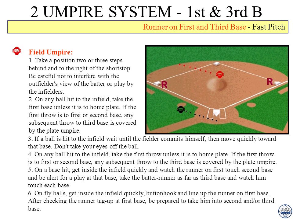 2 UMPIRE SYSTEM - 1st & 3rd B Runner on First and Third Base - Fast Pitch. Field Umpire: