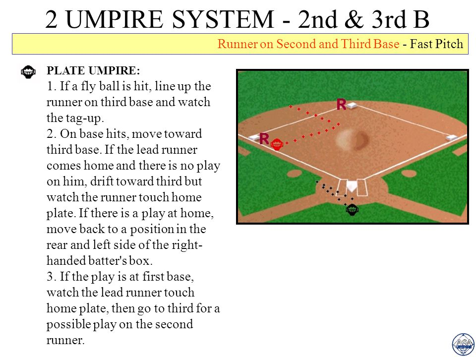 2 UMPIRE SYSTEM - 2nd & 3rd B Runner on Second and Third Base - Fast Pitch. PLATE UMPIRE: