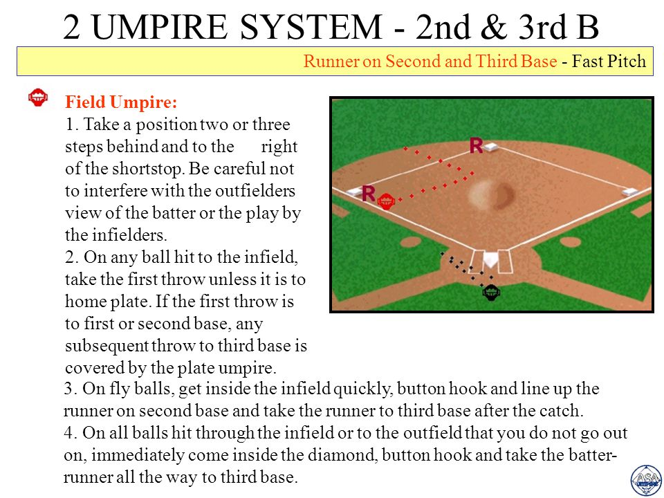 2 UMPIRE SYSTEM - 2nd & 3rd B Runner on Second and Third Base - Fast Pitch. Field Umpire: