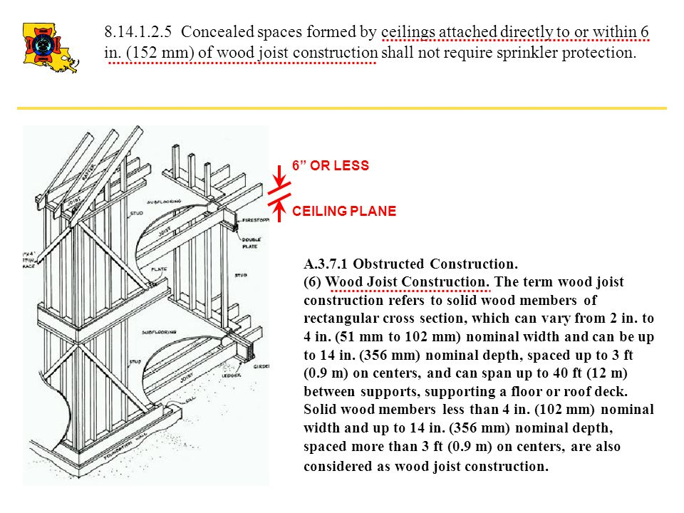 8.14.1.2.5 Concealed spaces formed by ceilings attached directly to or within 6 in. (152 mm) of wood joist construction shall not require sprinkler protection.