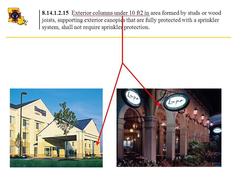 8.14.1.2.15 Exterior columns under 10 ft2 in area formed by studs or wood joists, supporting exterior canopies that are fully protected with a sprinkler system, shall not require sprinkler protection.