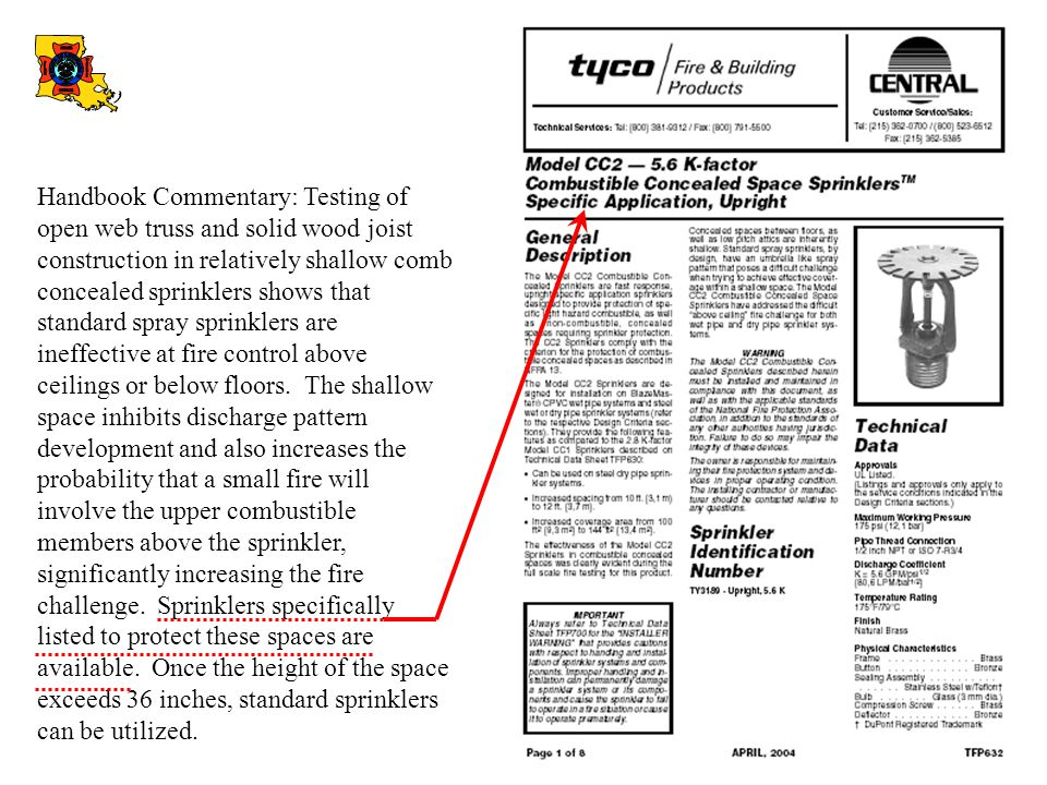 Handbook Commentary: Testing of open web truss and solid wood joist construction in relatively shallow comb concealed sprinklers shows that standard spray sprinklers are ineffective at fire control above ceilings or below floors.