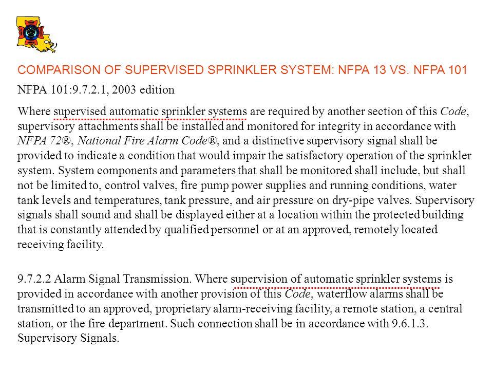 COMPARISON OF SUPERVISED SPRINKLER SYSTEM: NFPA 13 VS. NFPA 101