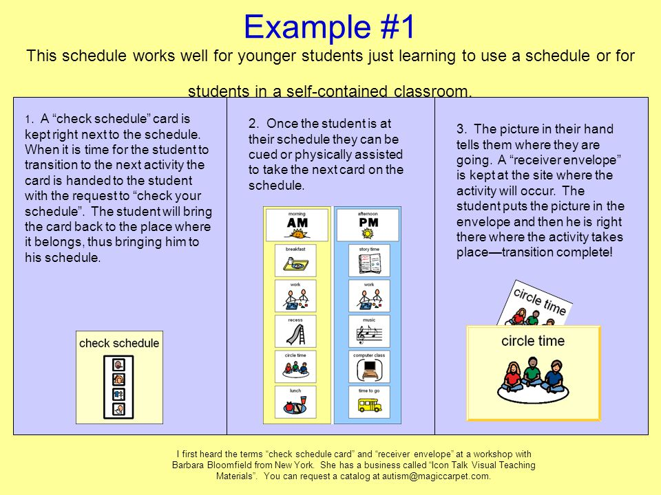 Example #1 This schedule works well for younger students just learning to use a schedule or for students in a self-contained classroom.