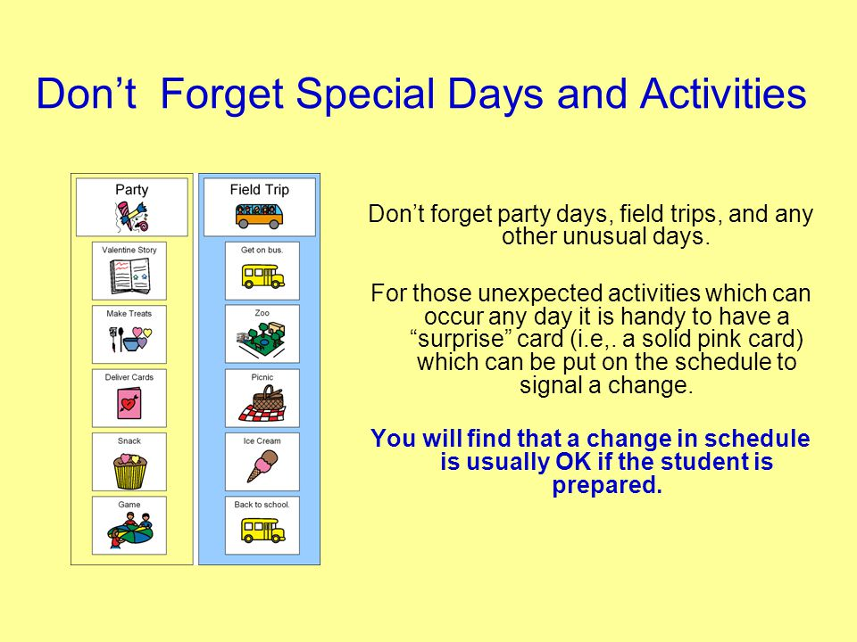 Don't Forget Special Days and Activities