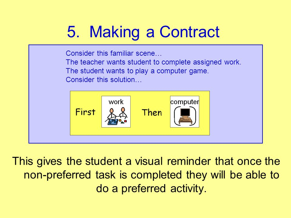 5. Making a Contract Consider this familiar scene… The teacher wants student to complete assigned work.