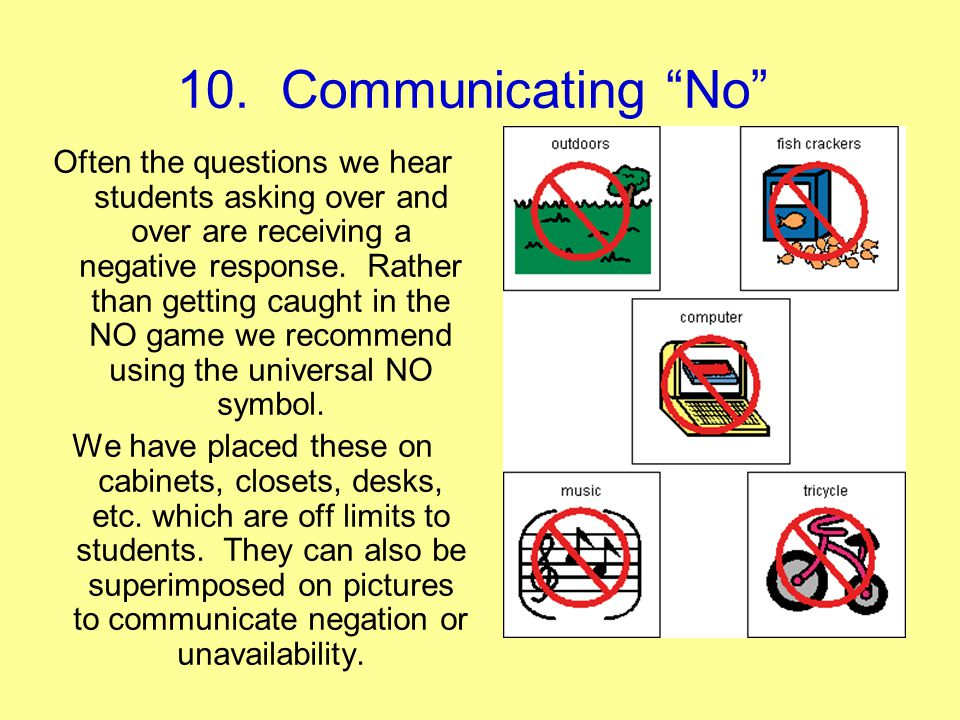 10. Communicating No