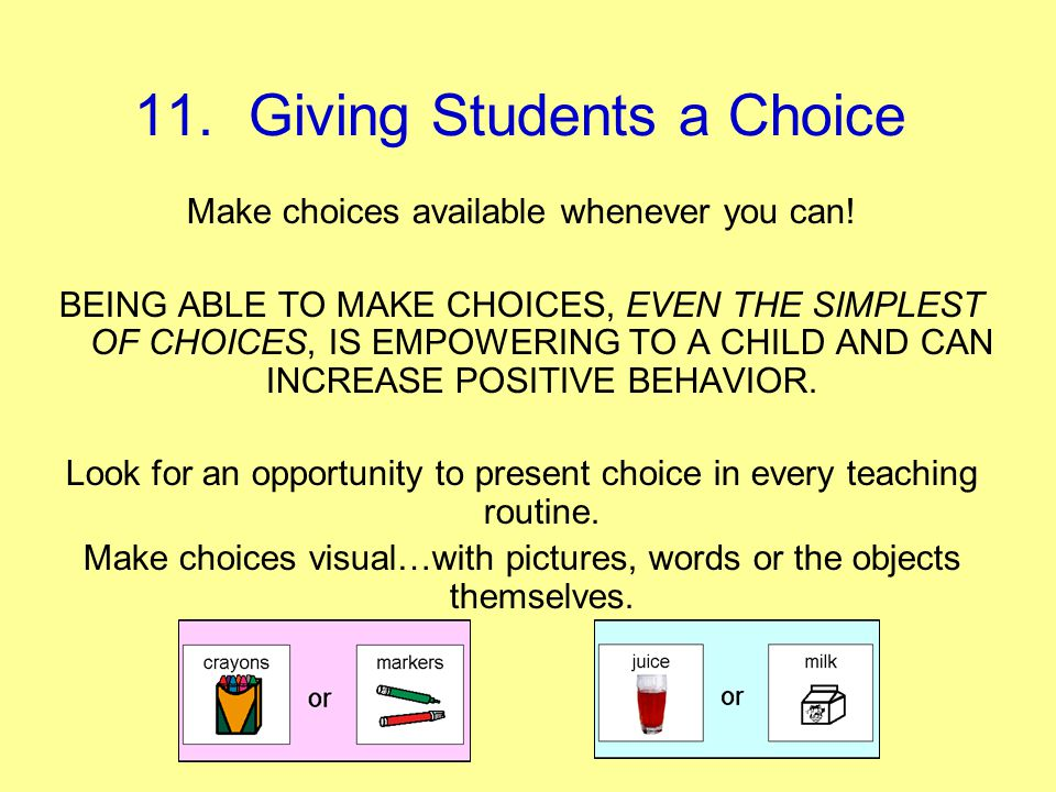11. Giving Students a Choice