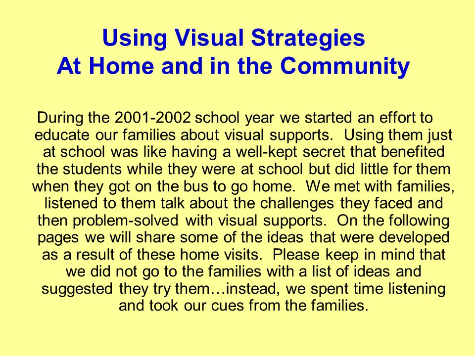 Using Visual Strategies At Home and in the Community