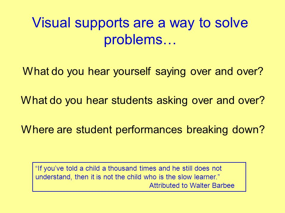 Visual supports are a way to solve problems…