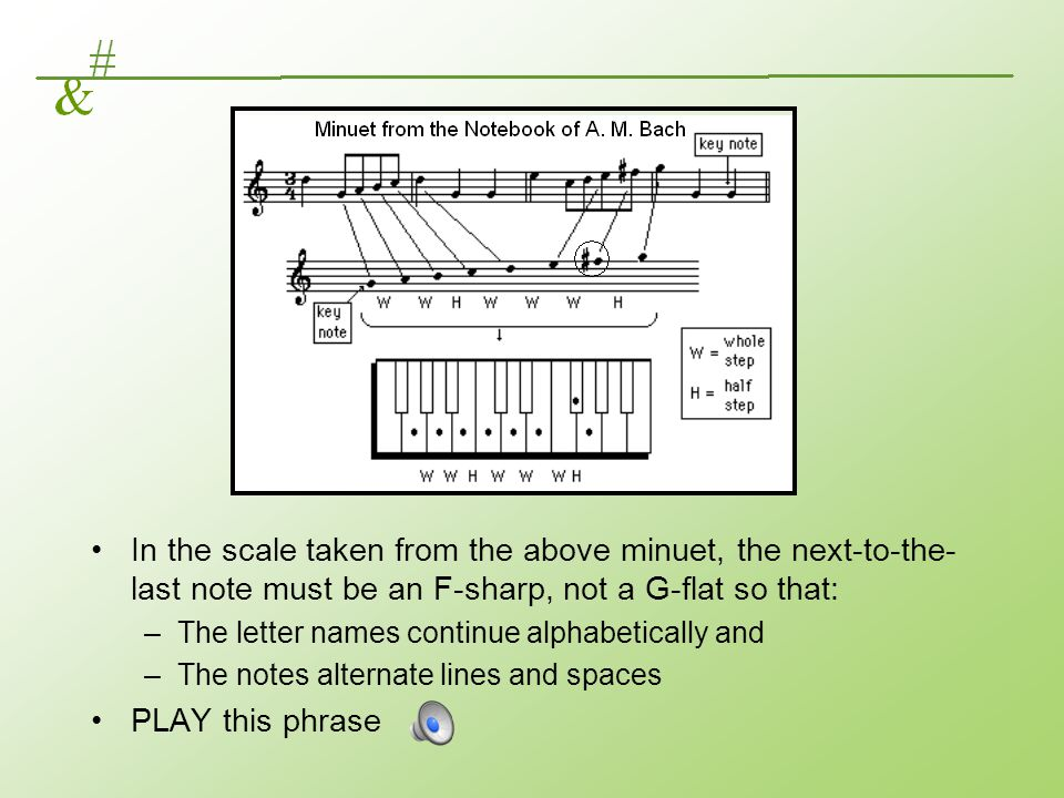 In the scale taken from the above minuet, the next-to-the-last note must be an F-sharp, not a G-flat so that: