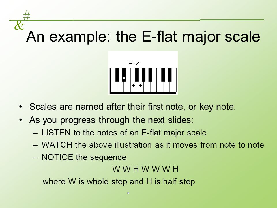 An example: the E-flat major scale