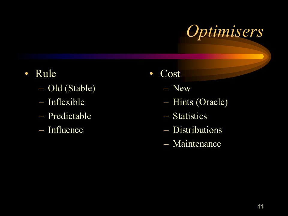 Optimisers Rule Cost Old (Stable) Inflexible Predictable Influence New