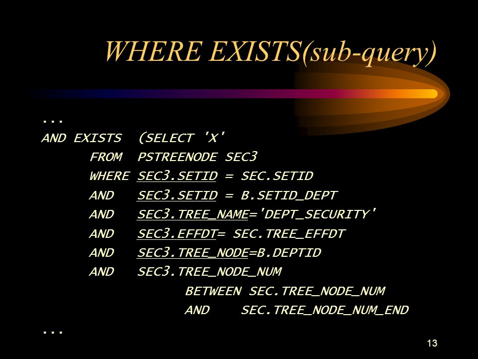 WHERE EXISTS(sub-query)