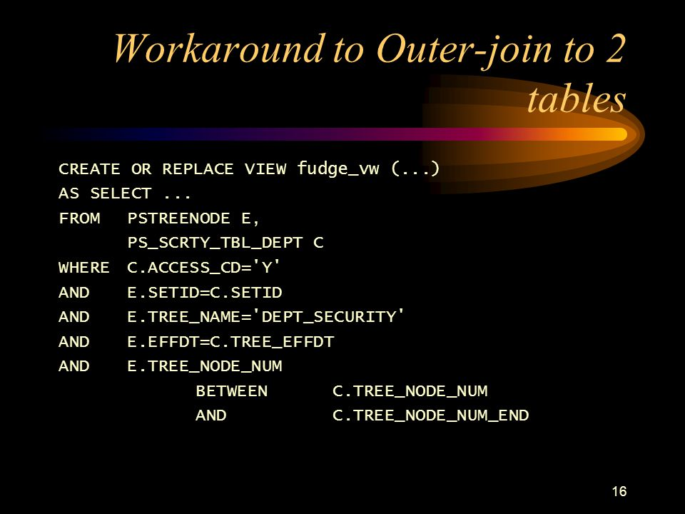 Workaround to Outer-join to 2 tables