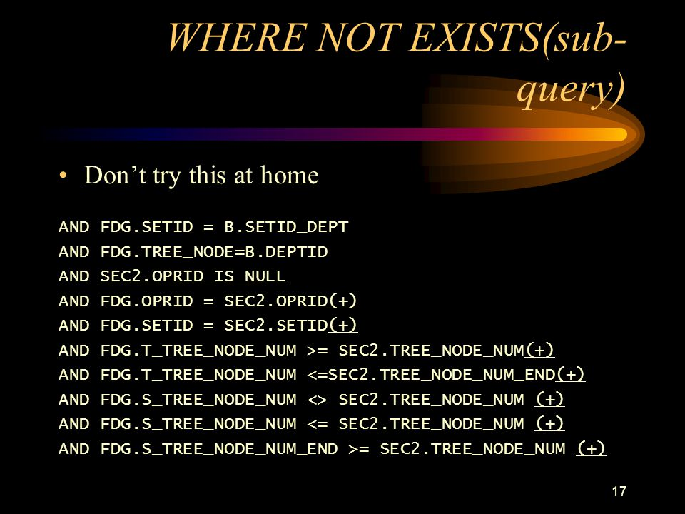 WHERE NOT EXISTS(sub-query)