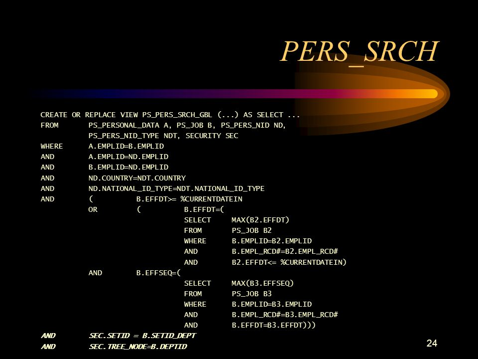 PERS_SRCH CREATE OR REPLACE VIEW PS_PERS_SRCH_GBL (...) AS SELECT ... FROM PS_PERSONAL_DATA A, PS_JOB B, PS_PERS_NID ND,