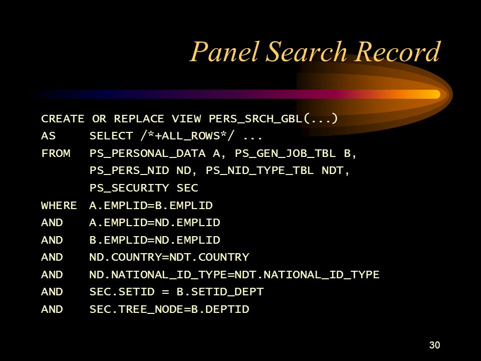 Panel Search Record CREATE OR REPLACE VIEW PERS_SRCH_GBL(...)