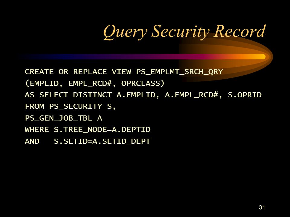 Query Security Record CREATE OR REPLACE VIEW PS_EMPLMT_SRCH_QRY