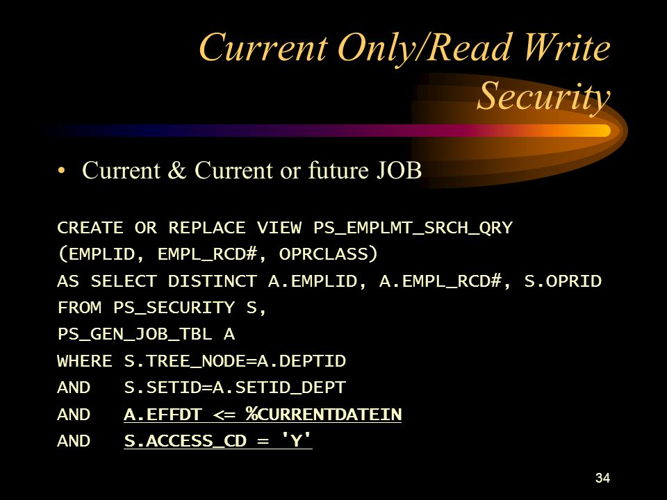 Current Only/Read Write Security