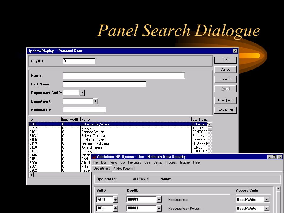 Panel Search Dialogue