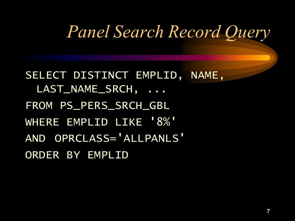 Panel Search Record Query