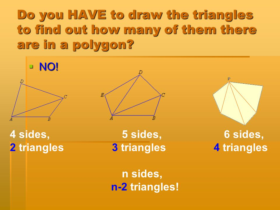 Do you HAVE to draw the triangles to find out how many of them there are in a polygon