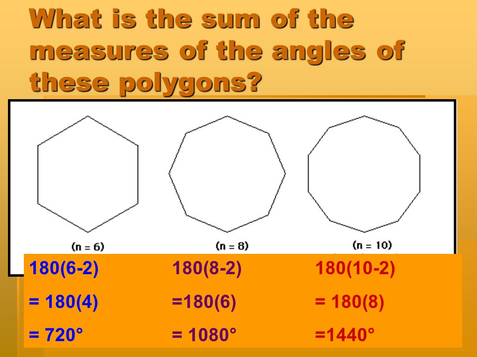 What is the sum of the measures of the angles of these polygons