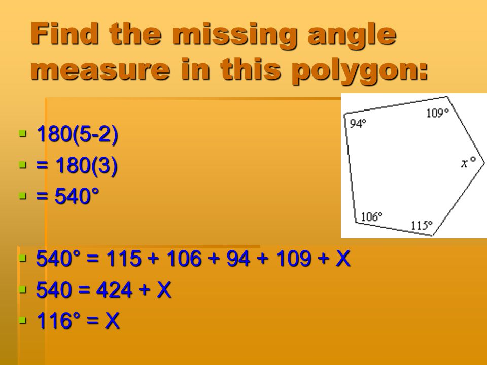 Find the missing angle measure in this polygon:
