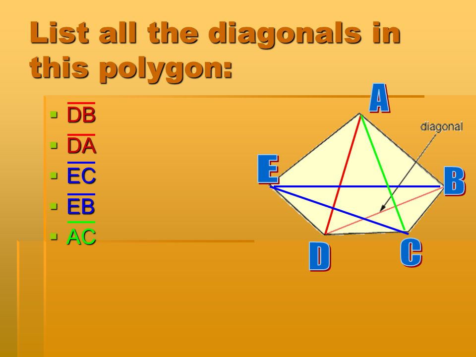 List all the diagonals in this polygon: