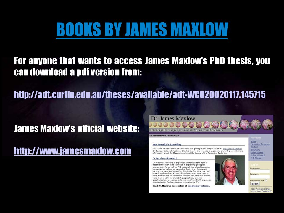 BOOKS BY JAMES MAXLOW For anyone that wants to access James Maxlow s PhD thesis, you can download a pdf version from: