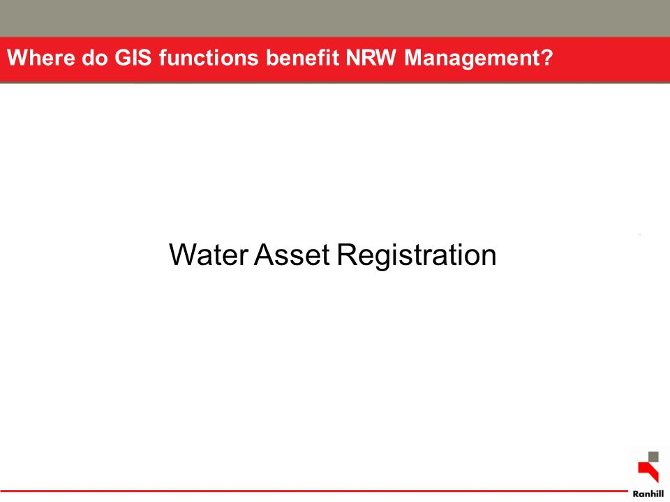 Water Asset Registration