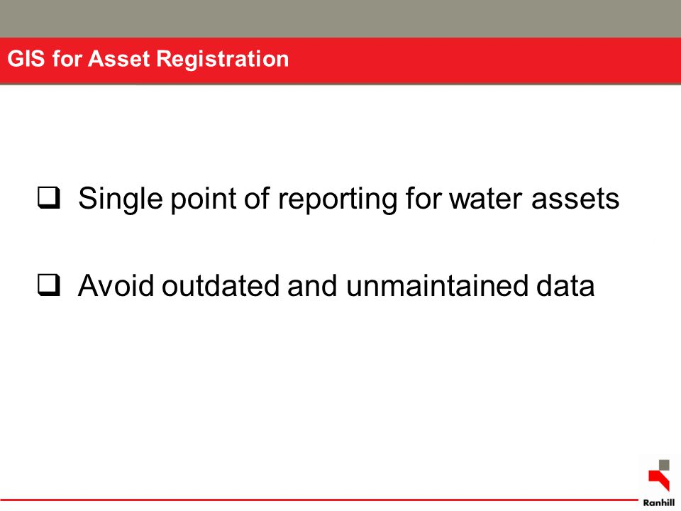 Single point of reporting for water assets