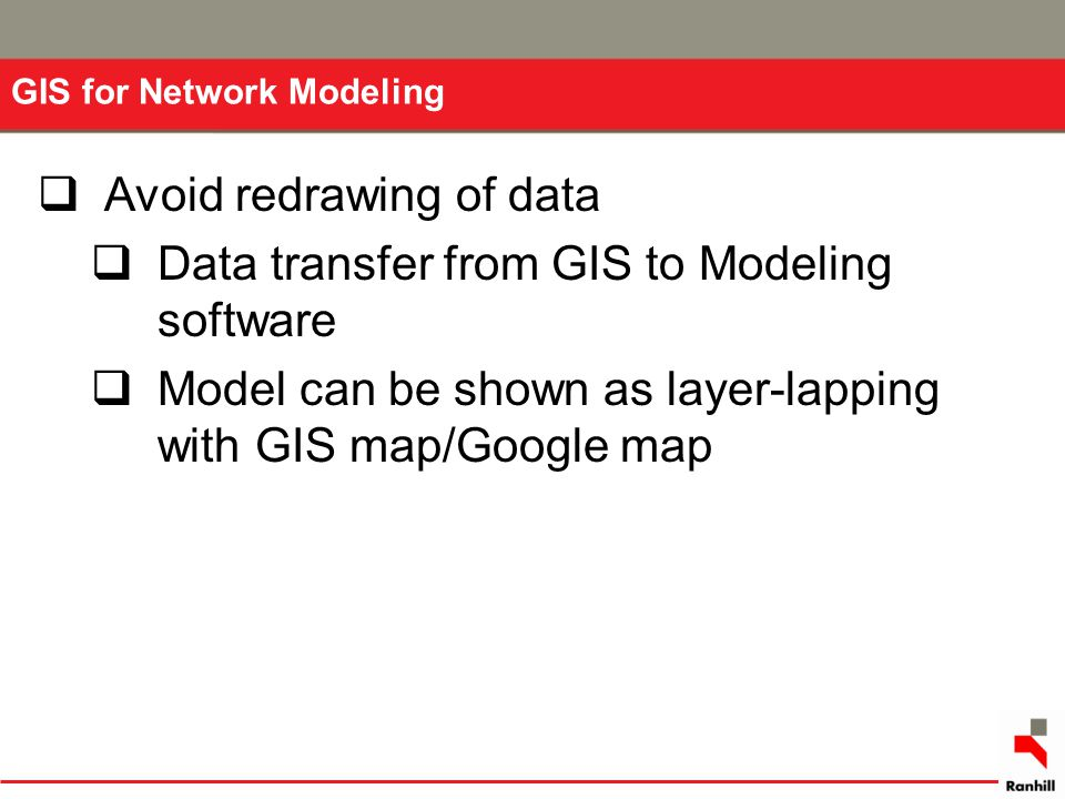 Avoid redrawing of data Data transfer from GIS to Modeling software