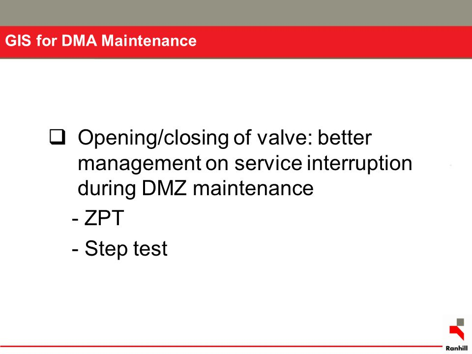GIS for DMA Maintenance