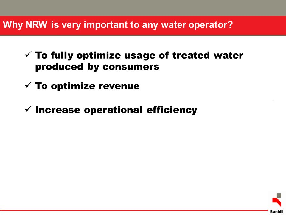 Why NRW is very important to any water operator