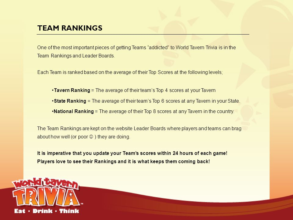 TEAM RANKINGS One of the most important pieces of getting Teams addicted to World Tavern Trivia is in the Team Rankings and Leader Boards.