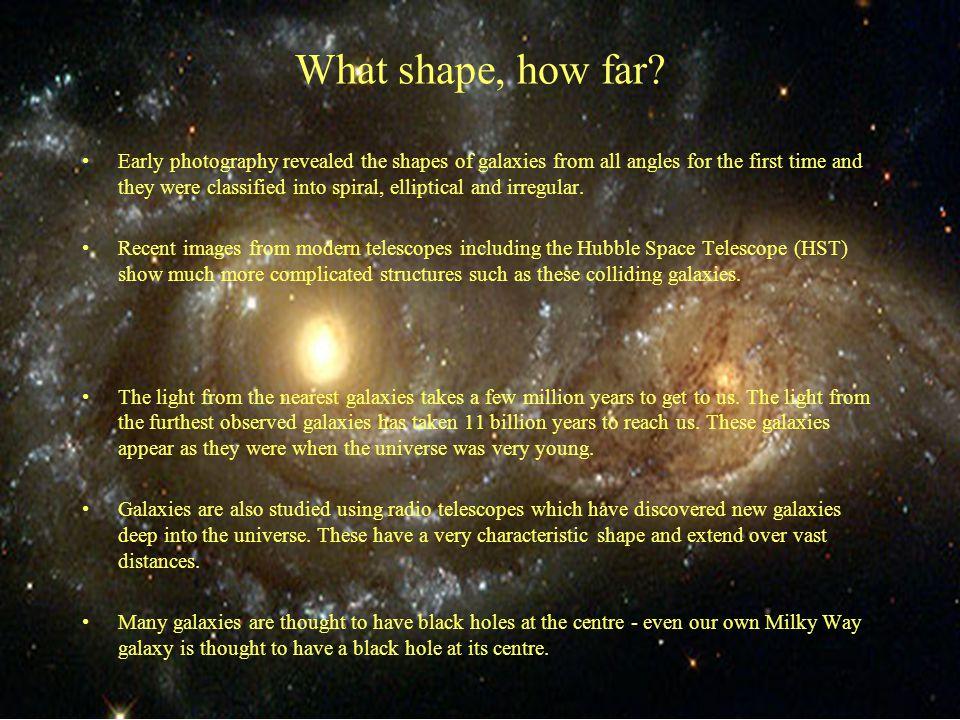What shape, how far