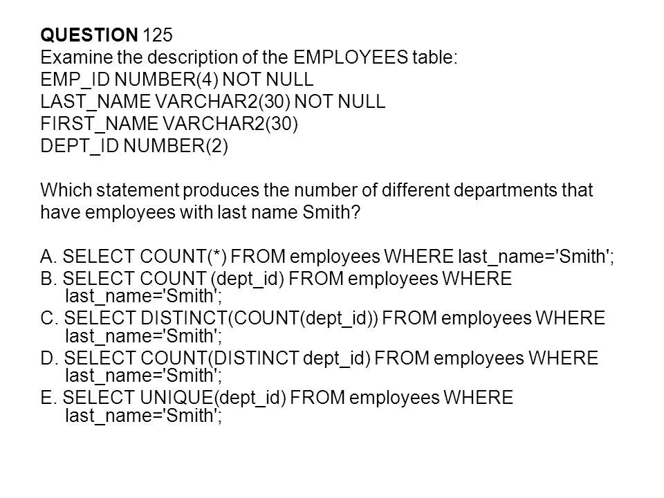QUESTION 125 Examine the description of the EMPLOYEES table: EMP_ID NUMBER(4) NOT NULL. LAST_NAME VARCHAR2(30) NOT NULL.