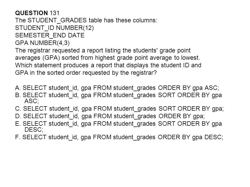 QUESTION 131 The STUDENT_GRADES table has these columns: STUDENT_ID NUMBER(12) SEMESTER_END DATE.
