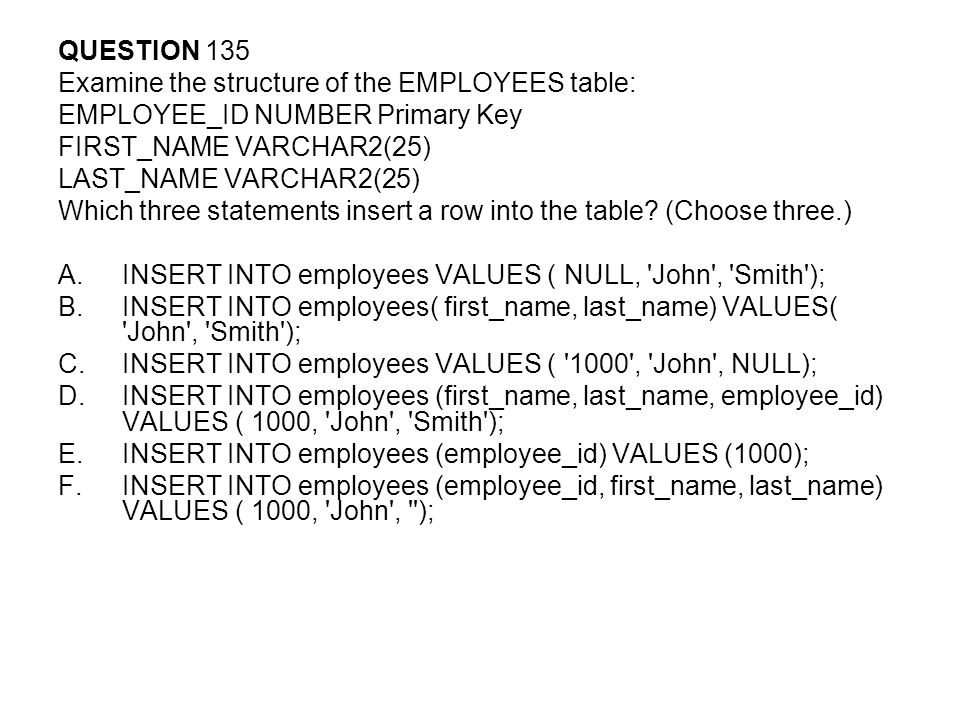 QUESTION 135 Examine the structure of the EMPLOYEES table: EMPLOYEE_ID NUMBER Primary Key. FIRST_NAME VARCHAR2(25)