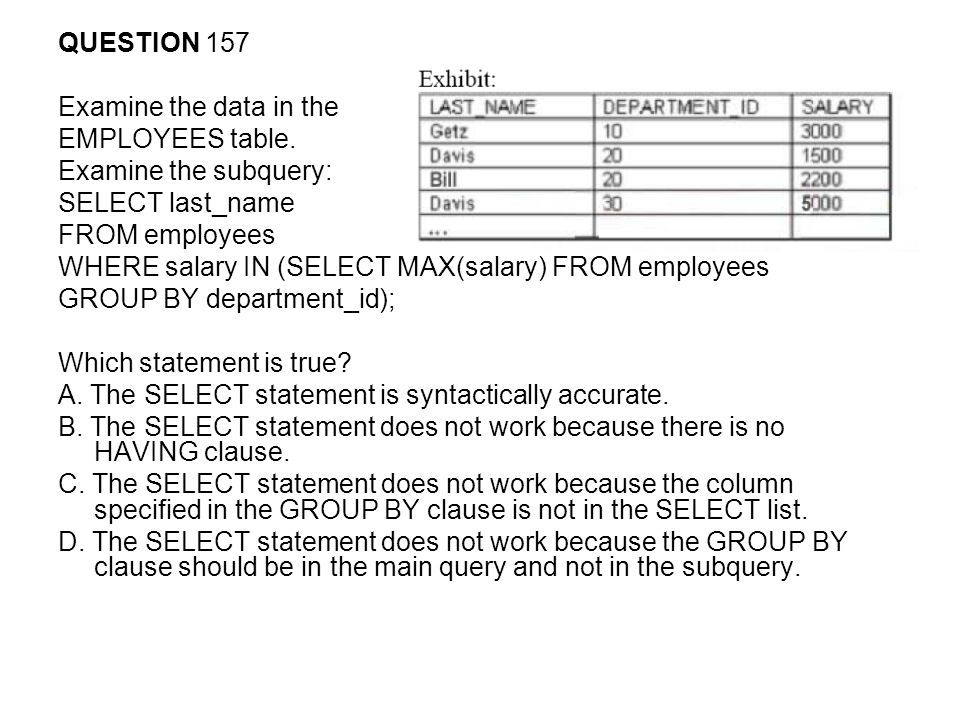 QUESTION 157 Examine the data in the. EMPLOYEES table. Examine the subquery: SELECT last_name. FROM employees.