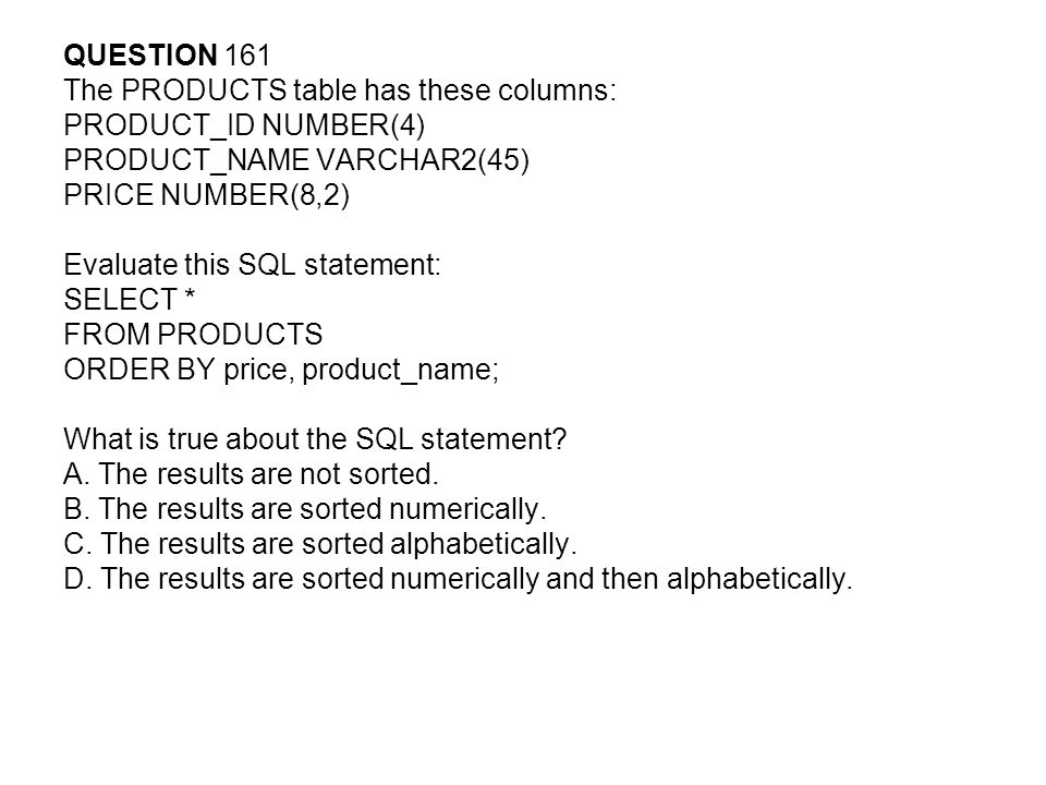 QUESTION 161 The PRODUCTS table has these columns: PRODUCT_ID NUMBER(4) PRODUCT_NAME VARCHAR2(45)