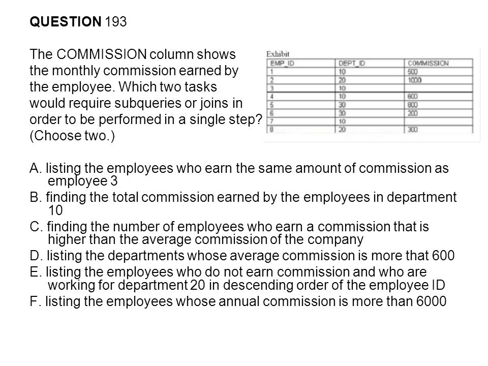 QUESTION 193 The COMMISSION column shows. the monthly commission earned by. the employee. Which two tasks.